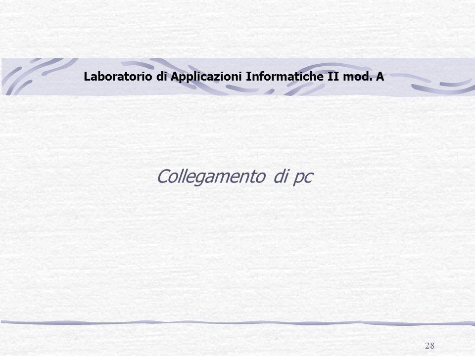 28 Laboratorio di Applicazioni Informatiche II mod. A Collegamento di pc