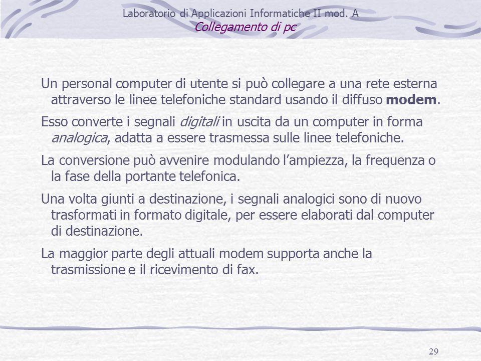 29 Laboratorio di Applicazioni Informatiche II mod.