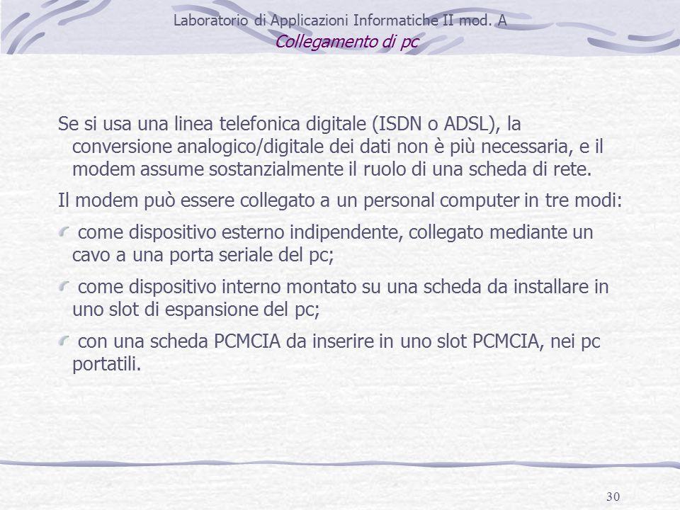 30 Laboratorio di Applicazioni Informatiche II mod.