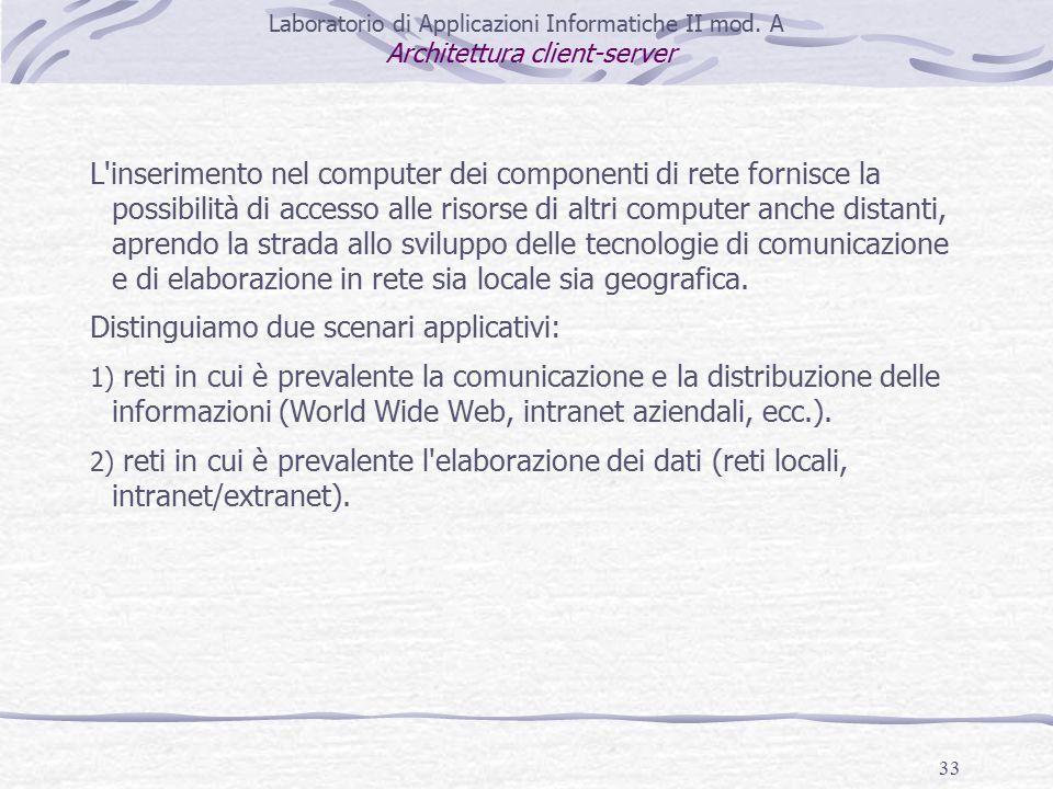 33 L inserimento nel computer dei componenti di rete fornisce la possibilità di accesso alle risorse di altri computer anche distanti, aprendo la strada allo sviluppo delle tecnologie di comunicazione e di elaborazione in rete sia locale sia geografica.