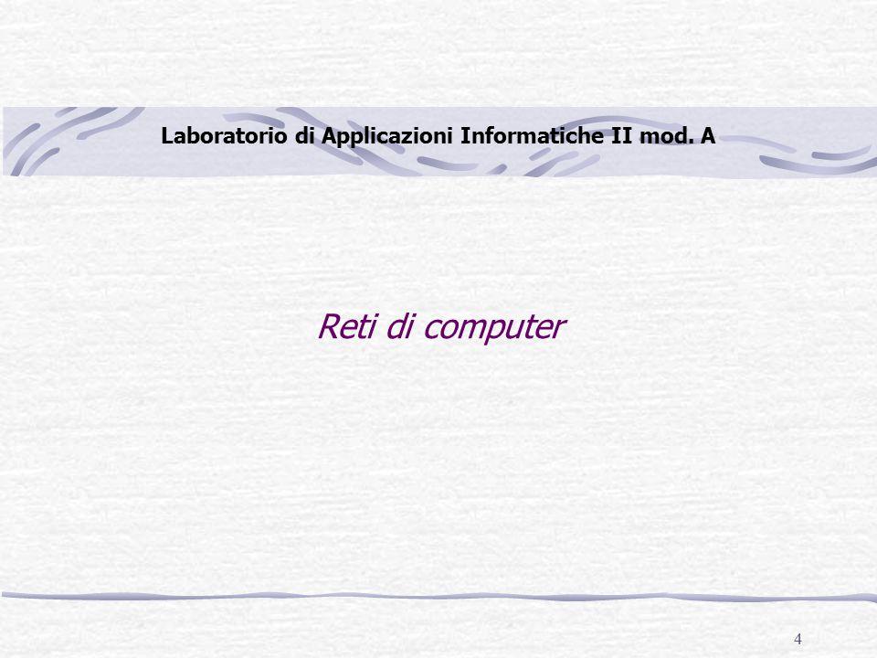 4 Reti di computer Laboratorio di Applicazioni Informatiche II mod. A