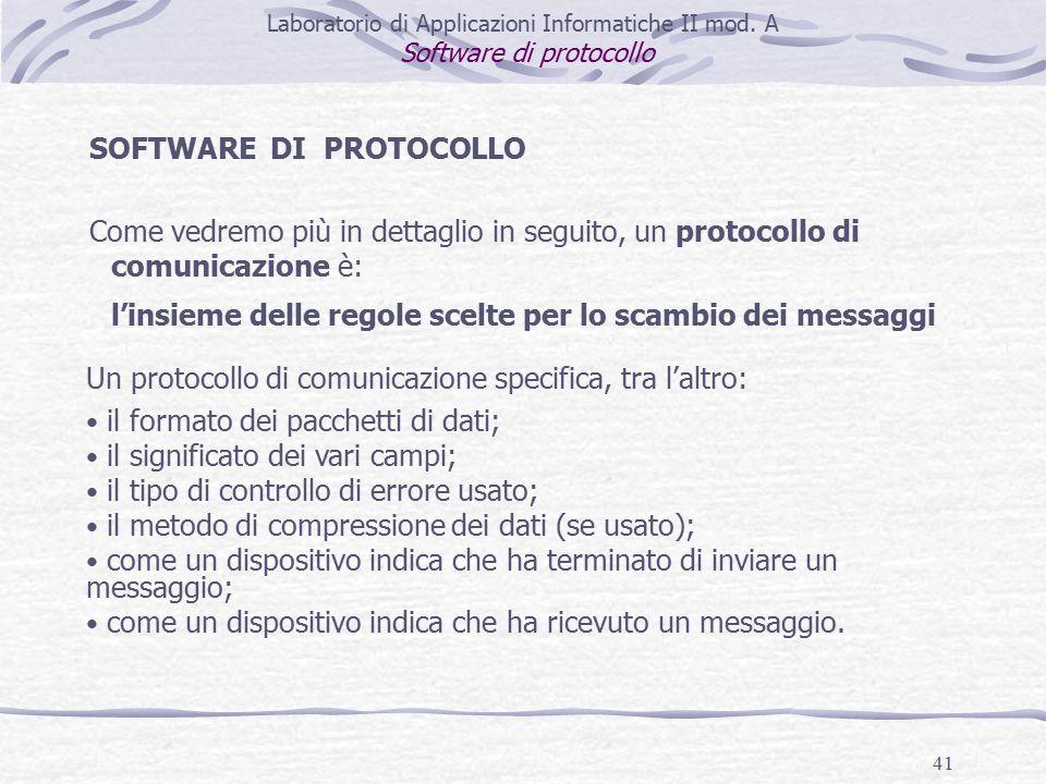 41 SOFTWARE DI PROTOCOLLO Come vedremo più in dettaglio in seguito, un protocollo di comunicazione è: l'insieme delle regole scelte per lo scambio dei messaggi Laboratorio di Applicazioni Informatiche II mod.