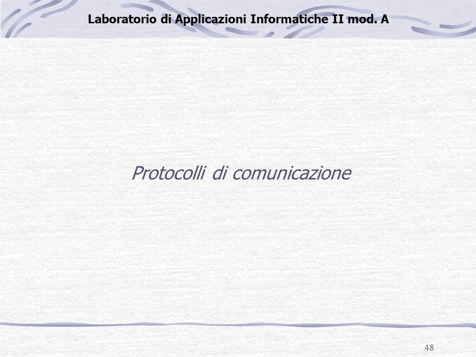 48 Laboratorio di Applicazioni Informatiche II mod. A Protocolli di comunicazione