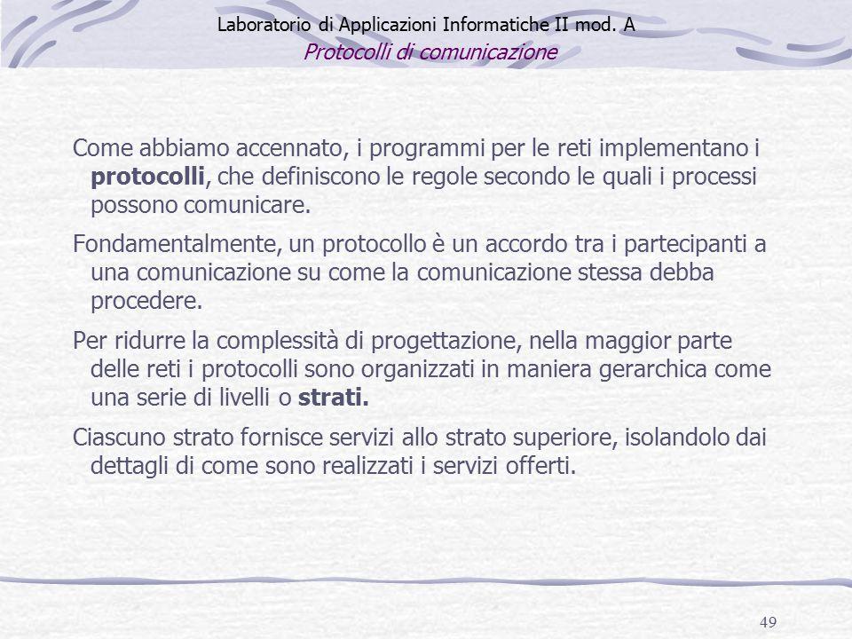 49 Laboratorio di Applicazioni Informatiche II mod.