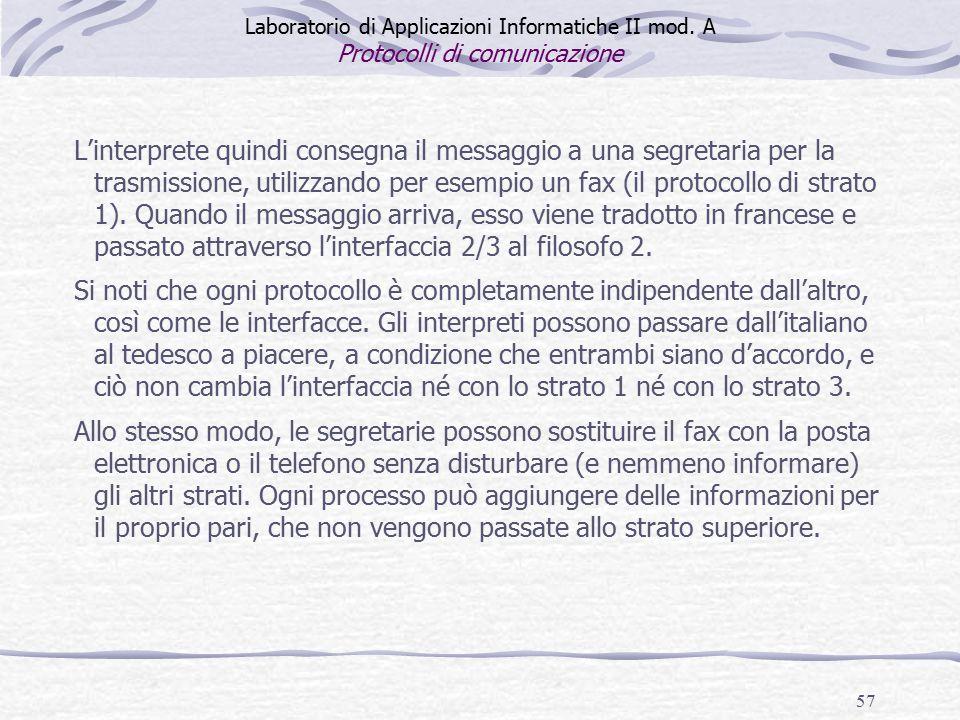 57 L'interprete quindi consegna il messaggio a una segretaria per la trasmissione, utilizzando per esempio un fax (il protocollo di strato 1).