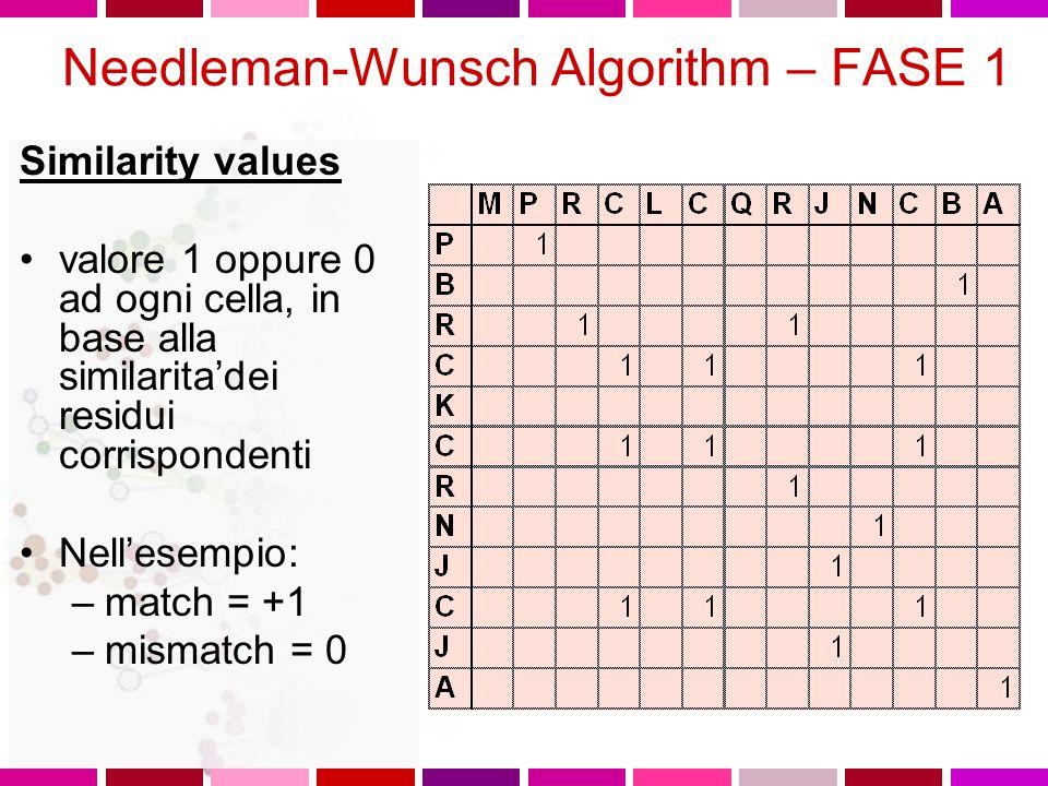 Needleman-Wunsch Algorithm Tre fasi 1.Determinazione residui identici 2.Per ogni cella, cercare il valore massimo nei percorsi che dalla cella stessa portano all'inizio della sequenza e dare alla cella il valore del maximum scoring pathway 3.Costruire un allineamento (pathway) andando indietro dalla cella con il punteggio piu' alto fino all'inizio delle sequenze per ottenere l'allineamento ottimale