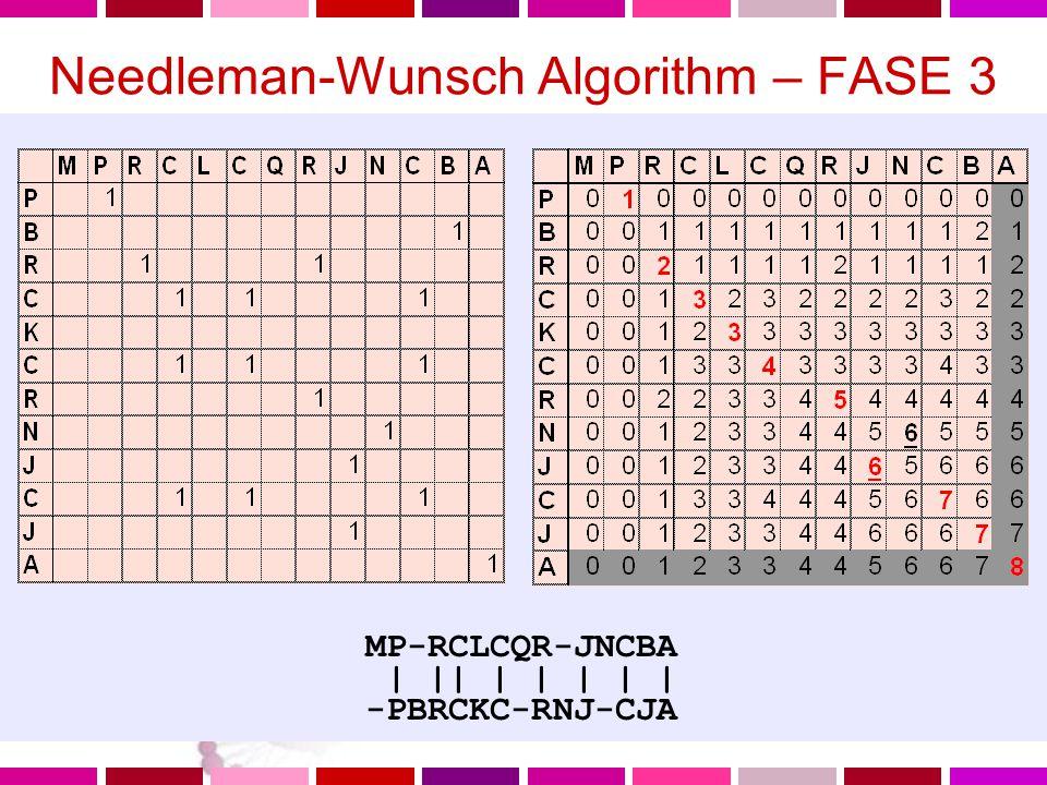 Needleman-Wunsch Algorithm – FASE 3 Costruisco l'allineamento Il punteggio dell'allineamento e' cumulativo (posso sommare lungo i percorsi nella direzione stabilita) Il miglior allineamento ha il massimo punteggio (ovvero il massimo numero di matches) Questo massimo numero di matches si ritrovera' nelle ultime righe o colonne L'allineamento si costruisce andando indietro alla cella1,1 a partire dalla cella del massimo numero di matches MP-RCLCQR-JNCBA | || | | | | | -PBRCKC-RNJ-CJA