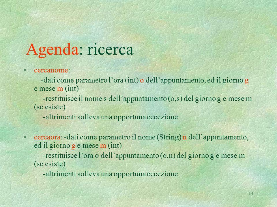14 Agenda: ricerca cercanome: -dati come parametro l'ora (int) o dell'appuntamento, ed il giorno g e mese m (int) -restituisce il nome s dell'appuntam