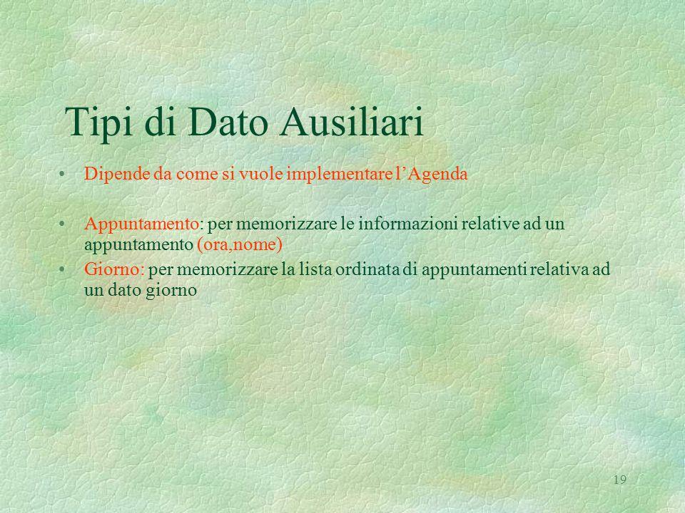 19 Tipi di Dato Ausiliari Dipende da come si vuole implementare l'Agenda Appuntamento: per memorizzare le informazioni relative ad un appuntamento (or