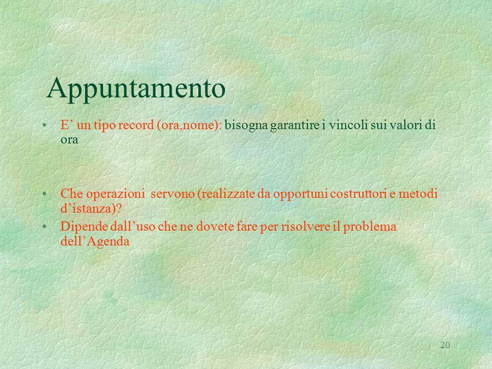 20 Appuntamento E' un tipo record (ora,nome): bisogna garantire i vincoli sui valori di ora Che operazioni servono (realizzate da opportuni costruttor