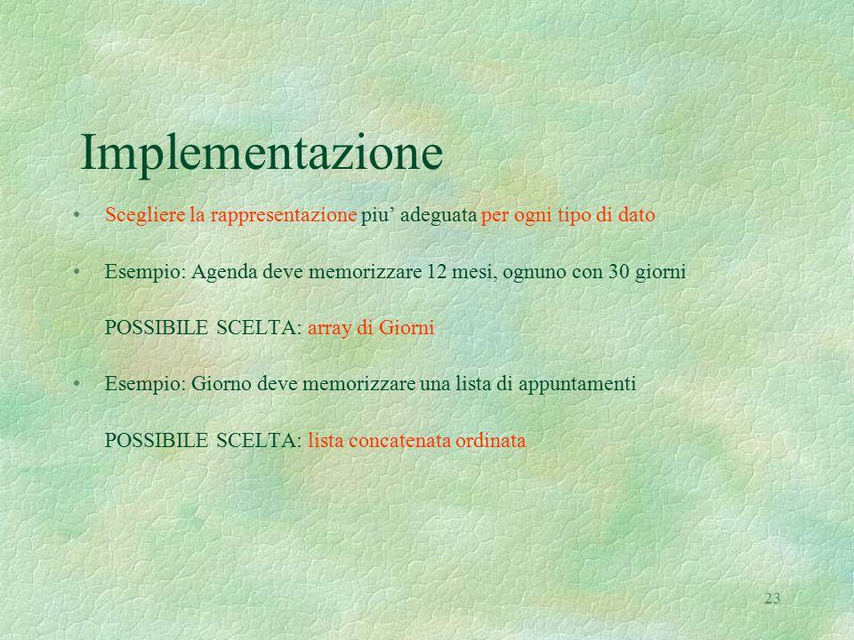23 Implementazione Scegliere la rappresentazione piu' adeguata per ogni tipo di dato Esempio: Agenda deve memorizzare 12 mesi, ognuno con 30 giorni PO
