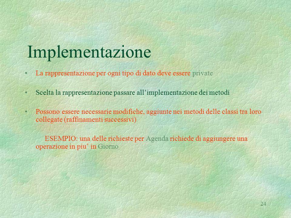 24 Implementazione La rappresentazione per ogni tipo di dato deve essere private Scelta la rappresentazione passare all'implementazione dei metodi Pos