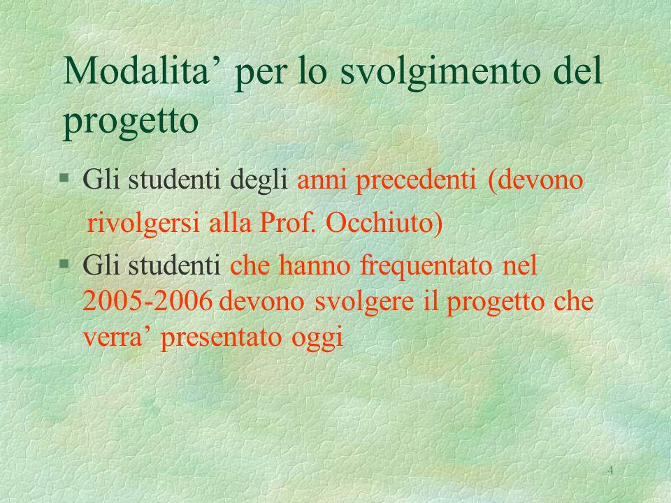 4 Modalita' per lo svolgimento del progetto §Gli studenti degli anni precedenti (devono rivolgersi alla Prof. Occhiuto) §Gli studenti che hanno freque
