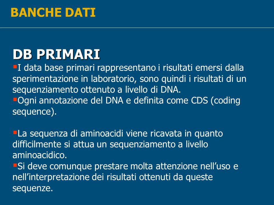 BANCHE DATI DB PRIMARI  I data base primari rappresentano i risultati emersi dalla sperimentazione in laboratorio, sono quindi i risultati di un sequenziamento ottenuto a livello di DNA.