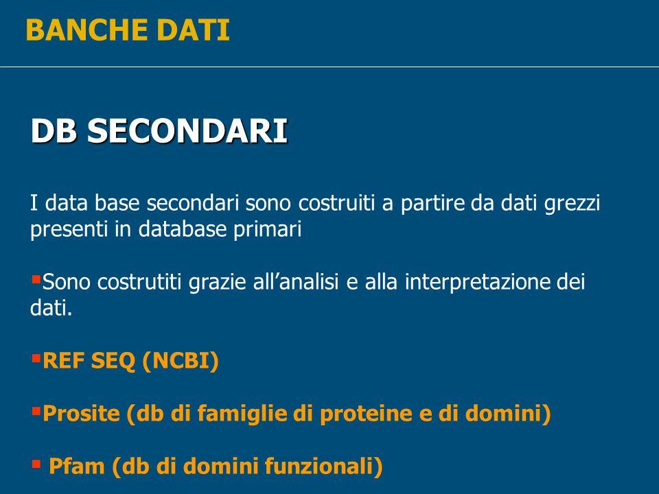 BANCHE DATI DB SECONDARI I data base secondari sono costruiti a partire da dati grezzi presenti in database primari  Sono costrutiti grazie all'analisi e alla interpretazione dei dati.
