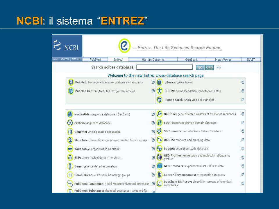 ENTREZ NCBI: il sistema ENTREZ