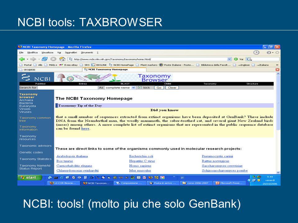NCBI tools: TAXBROWSER NCBI: tools! (molto piu che solo GenBank)