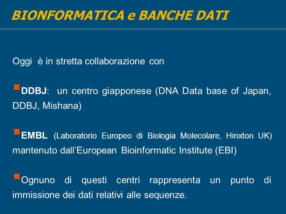 Oggi è in stretta collaborazione con  DDBJ: un centro giapponese (DNA Data base of Japan, DDBJ, Mishana)  EMBL (Laboratorio Europeo di Biologia Molecolare, Hinxton UK) mantenuto dall'European Bioinformatic Institute (EBI)  Ognuno di questi centri rappresenta un punto di immissione dei dati relativi alle sequenze.