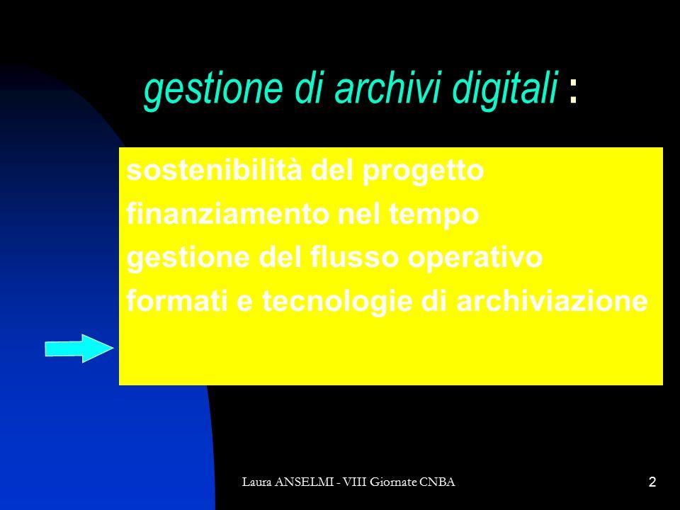 Laura ANSELMI - VIII Giornate CNBA2 gestione di archivi digitali : sostenibilità del progetto finanziamento nel tempo gestione del flusso operativo formati e tecnologie di archiviazione metadati