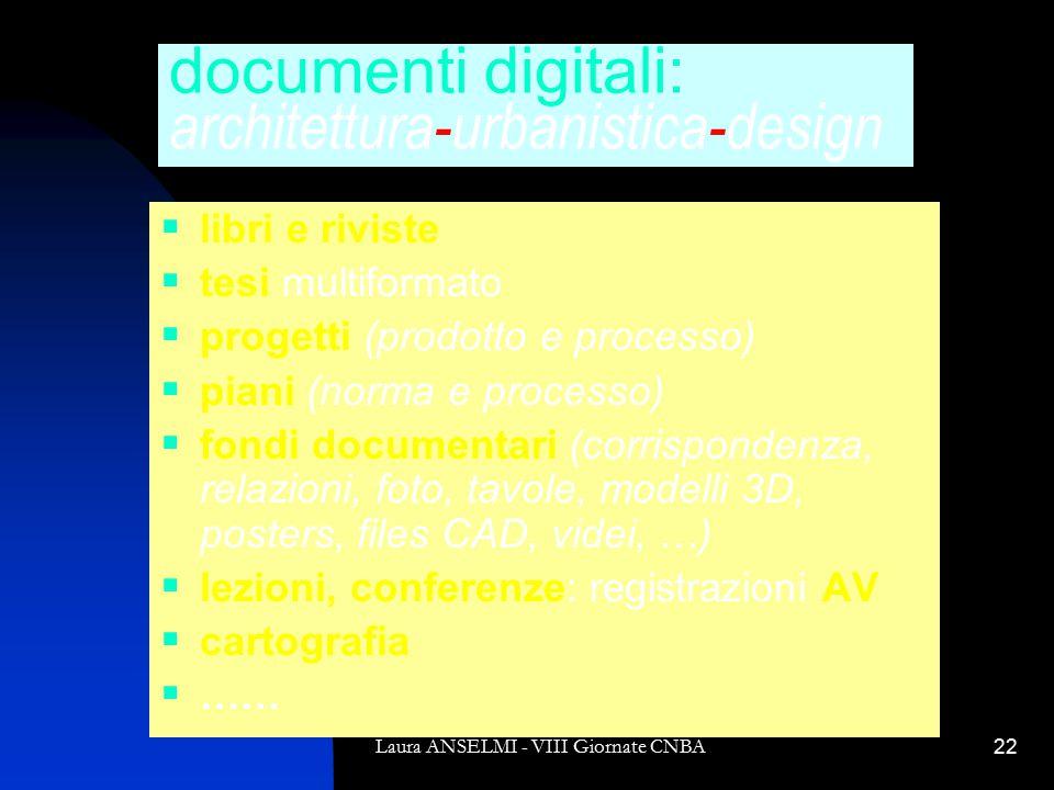 Laura ANSELMI - VIII Giornate CNBA22 documenti digitali: architettura-urbanistica-design  libri e riviste  tesi multiformato  progetti (prodotto e processo)  piani (norma e processo)  fondi documentari (corrispondenza, relazioni, foto, tavole, modelli 3D, posters, files CAD, videi, …)  lezioni, conferenze: registrazioni AV  cartografia  ……