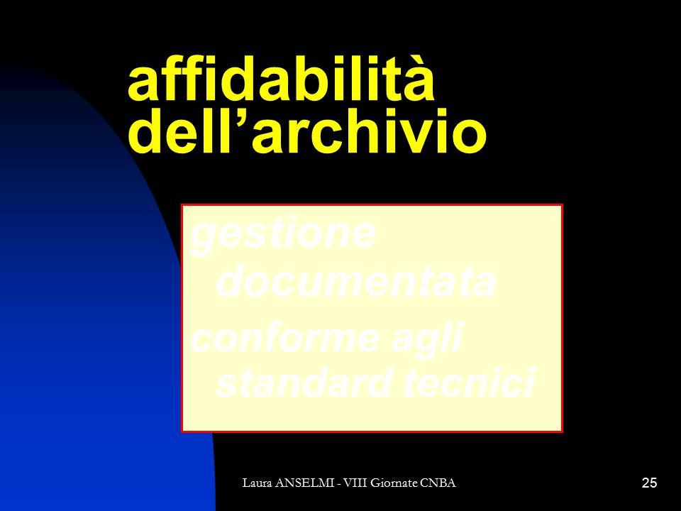 Laura ANSELMI - VIII Giornate CNBA25 affidabilità dell'archivio gestione documentata conforme agli standard tecnici