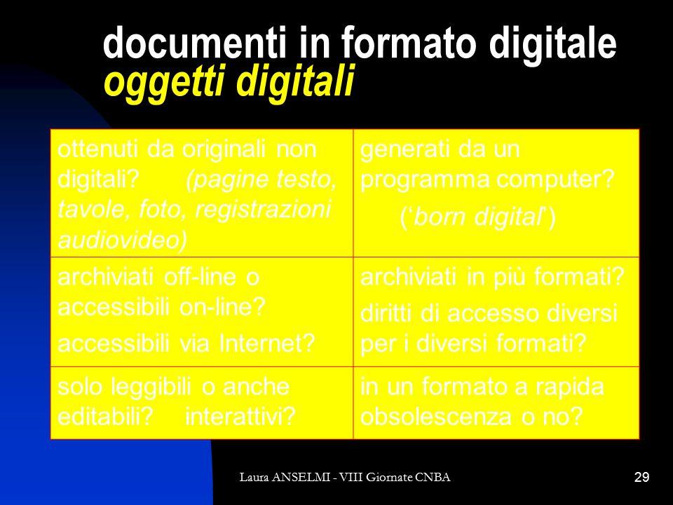 Laura ANSELMI - VIII Giornate CNBA29 documenti in formato digitale oggetti digitali ottenuti da originali non digitali.