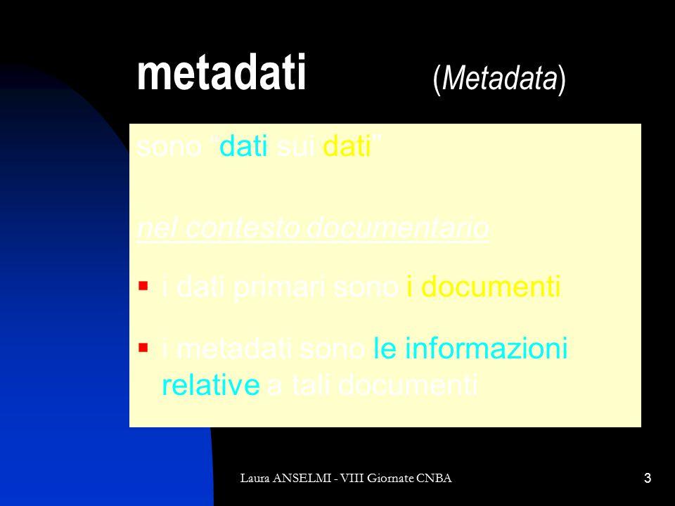 Laura ANSELMI - VIII Giornate CNBA3 metadati ( Metadata ) sono dati sui dati nel contesto documentario  i dati primari sono i documenti  i metadati sono le informazioni relative a tali documenti