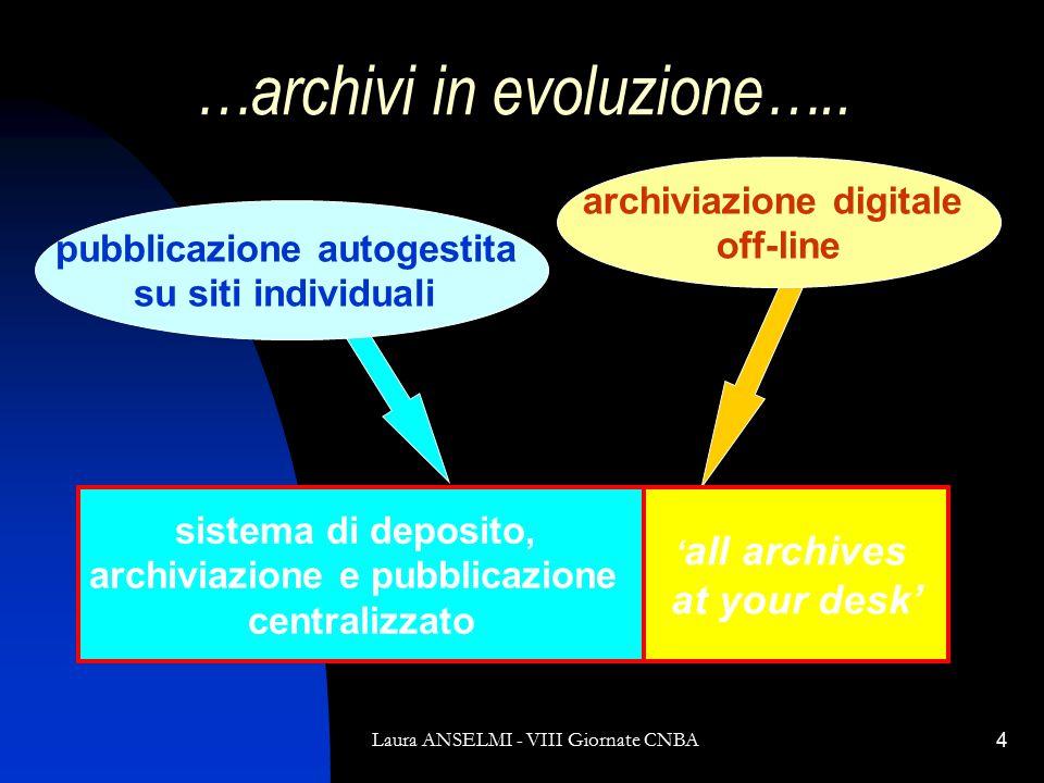 Laura ANSELMI - VIII Giornate CNBA4 …archivi in evoluzione…..