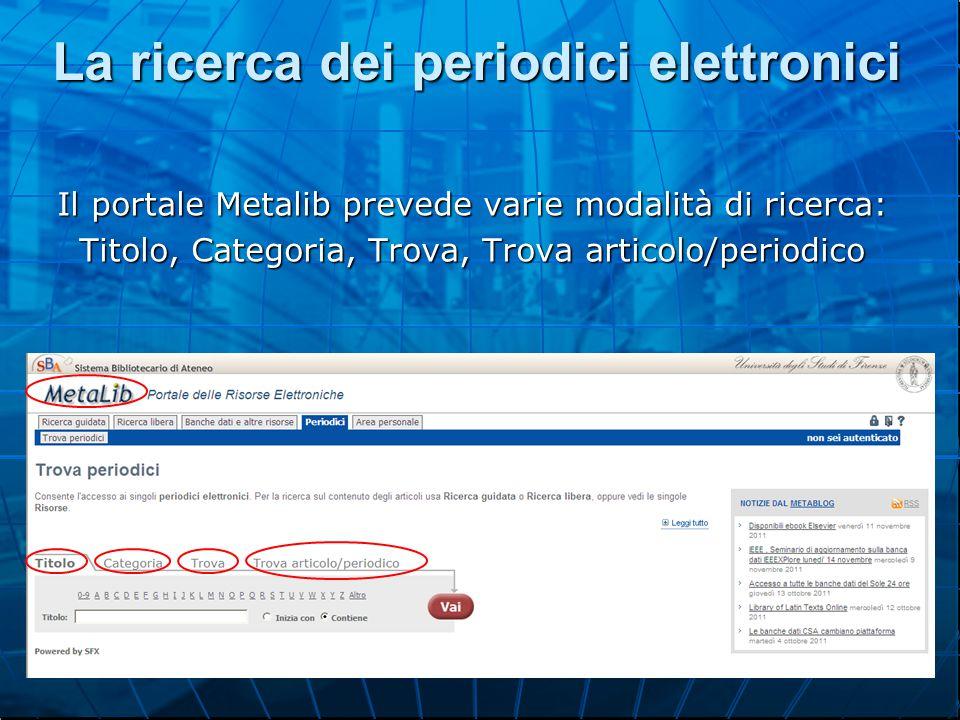 La ricerca dei periodici elettronici Il portale Metalib prevede varie modalità di ricerca: Titolo, Categoria, Trova, Trova articolo/periodico