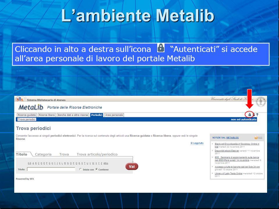 L'ambiente Metalib Cliccando in alto a destra sull'icona Autenticati si accede all'area personale di lavoro del portale Metalib