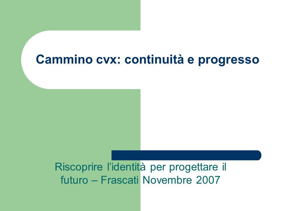 Cammino cvx: continuità e progresso Riscoprire l'identità per progettare il futuro – Frascati Novembre 2007