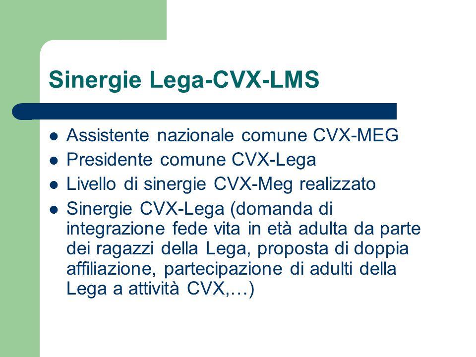 Sinergie Lega-CVX-LMS Assistente nazionale comune CVX-MEG Presidente comune CVX-Lega Livello di sinergie CVX-Meg realizzato Sinergie CVX-Lega (domanda