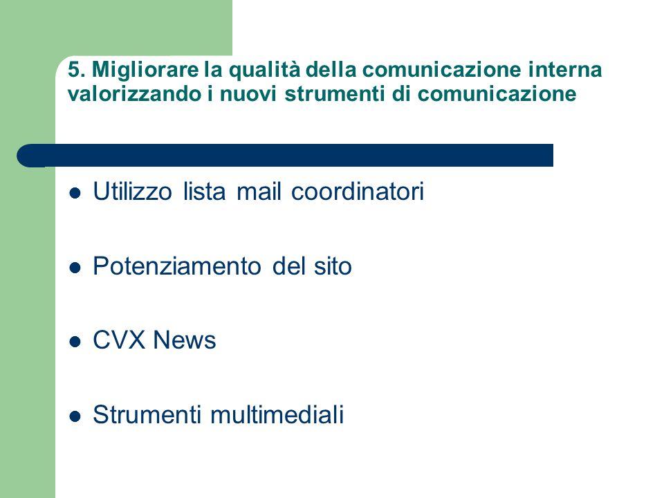 5. Migliorare la qualità della comunicazione interna valorizzando i nuovi strumenti di comunicazione Utilizzo lista mail coordinatori Potenziamento de
