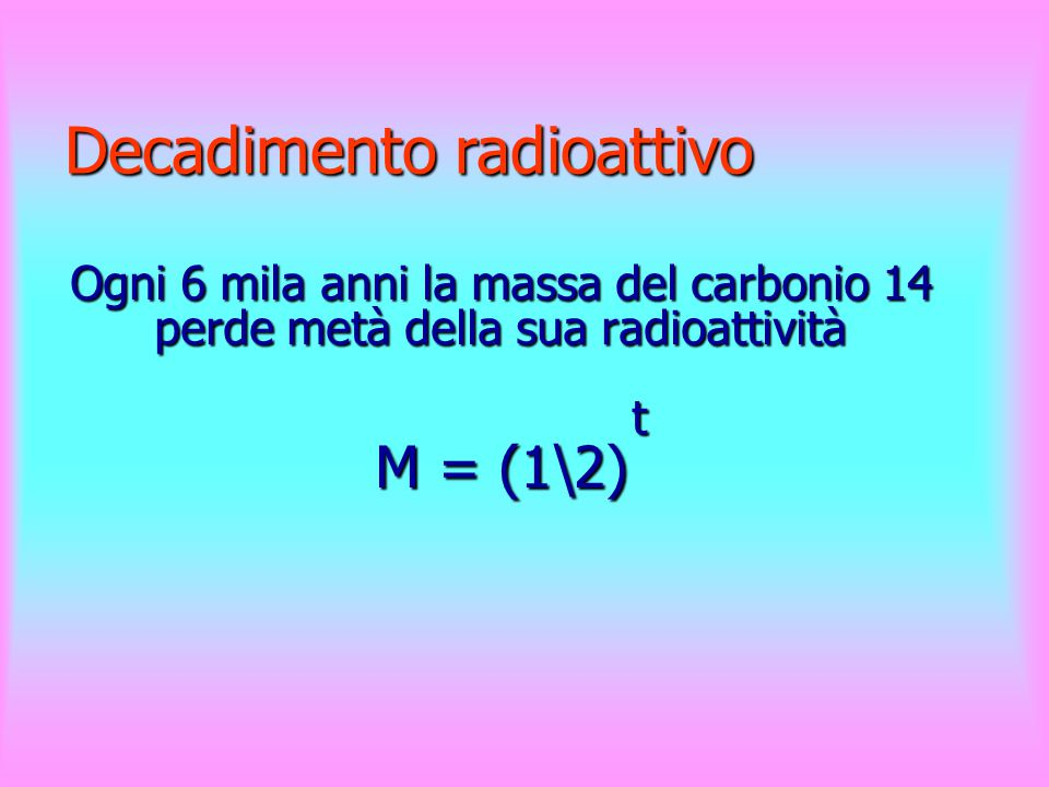 N. tempi dimezzamento t Massa di C14 M M 01 11\2 21\42 -24