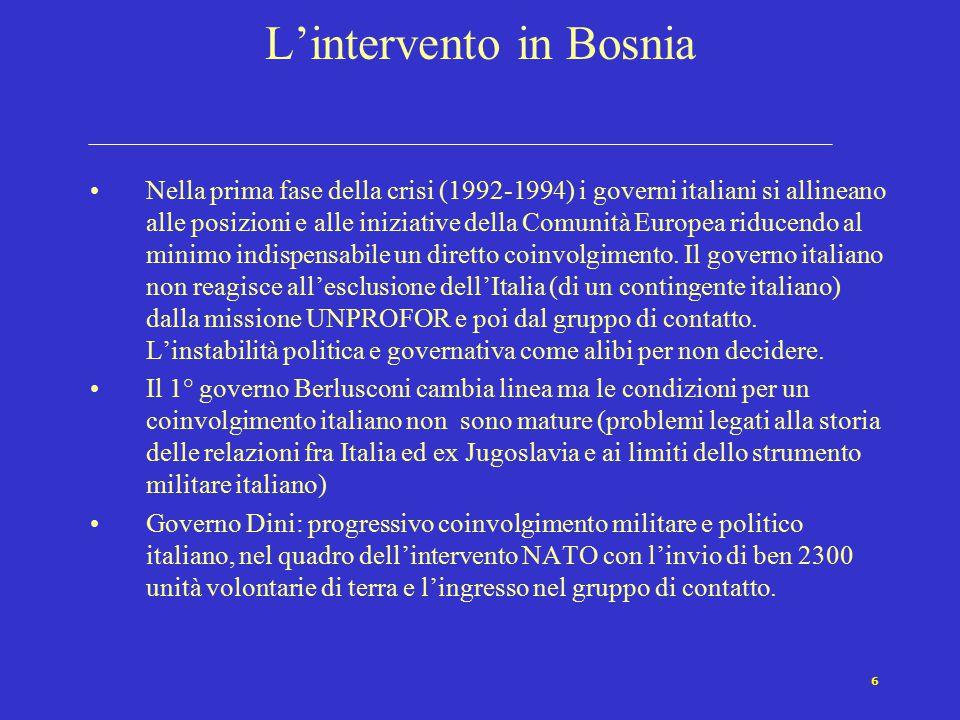 6 L'intervento in Bosnia Nella prima fase della crisi (1992-1994) i governi italiani si allineano alle posizioni e alle iniziative della Comunità Europea riducendo al minimo indispensabile un diretto coinvolgimento.