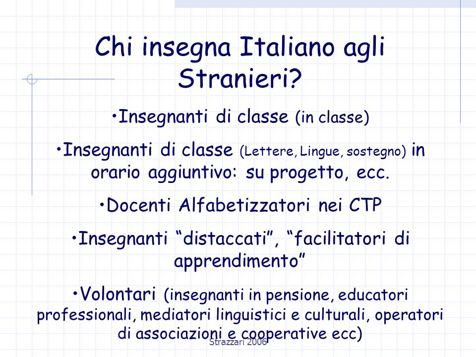 Strazzari 2006 Chi insegna Italiano agli Stranieri.