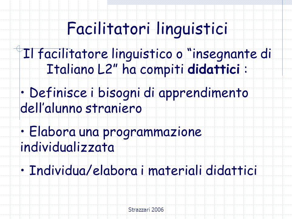 Strazzari 2006 Facilitatori linguistici Il facilitatore linguistico o insegnante di Italiano L2 ha compiti didattici : Definisce i bisogni di apprendimento dell'alunno straniero Elabora una programmazione individualizzata Individua/elabora i materiali didattici