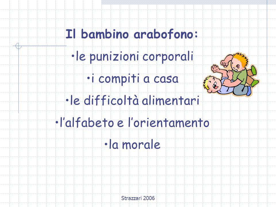 Strazzari 2006 Il bambino arabofono: le punizioni corporali i compiti a casa le difficoltà alimentari l'alfabeto e l'orientamento la morale