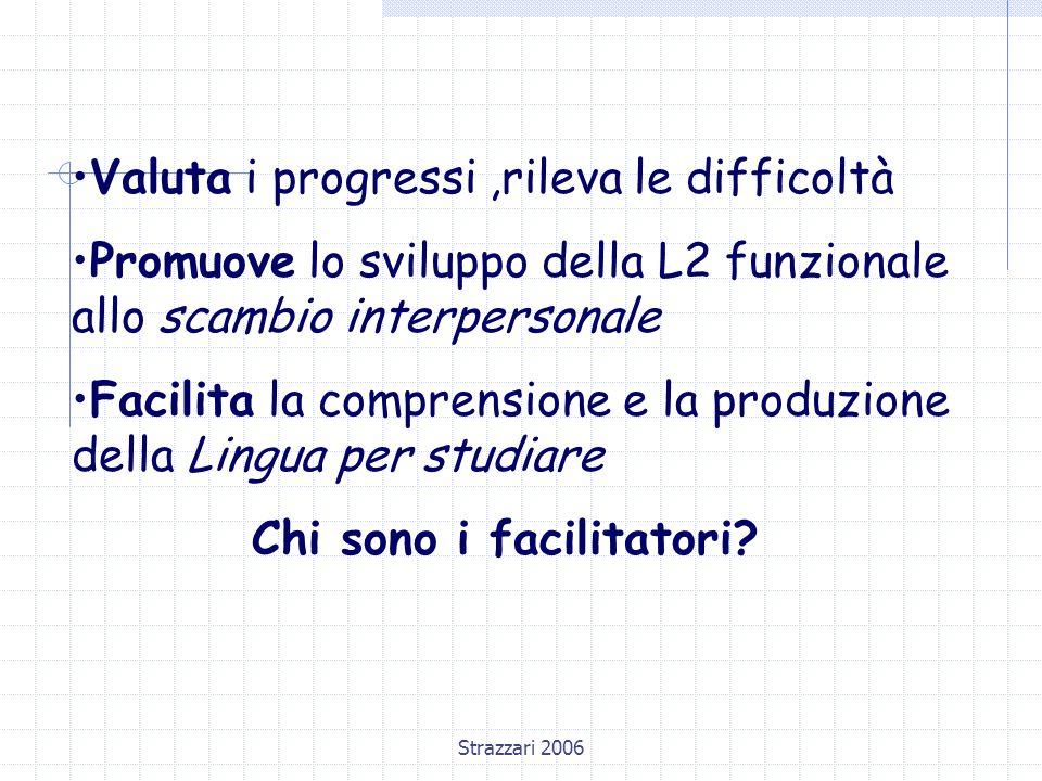 Strazzari 2006 Valuta i progressi,rileva le difficoltà Promuove lo sviluppo della L2 funzionale allo scambio interpersonale Facilita la comprensione e la produzione della Lingua per studiare Chi sono i facilitatori