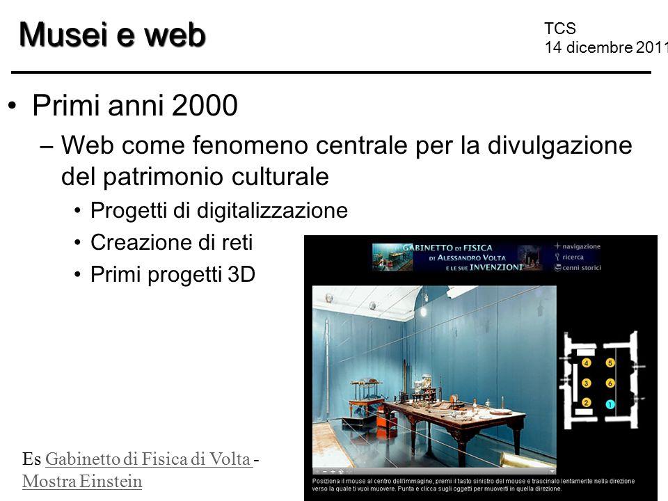 TCS 14 dicembre 2011 Musei e web Primi anni 2000 –Web come fenomeno centrale per la divulgazione del patrimonio culturale Progetti di digitalizzazione