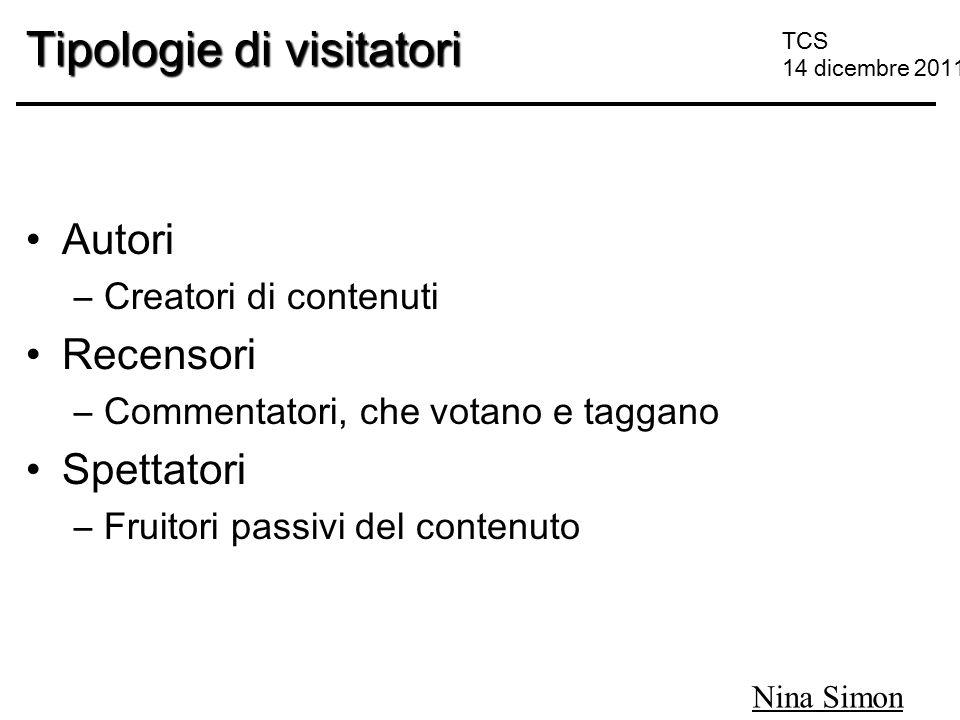 TCS 14 dicembre 2011 Tipologie di visitatori Autori –Creatori di contenuti Recensori –Commentatori, che votano e taggano Spettatori –Fruitori passivi