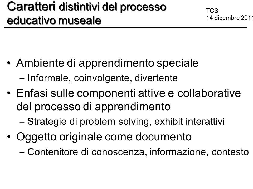 TCS 14 dicembre 2011 Caratteri distintivi del processo educativo museale Ambiente di apprendimento speciale –Informale, coinvolgente, divertente Enfas