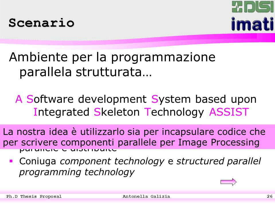 Ph.D Thesis Proposal Antonella Galizia26 Ambiente per la programmazione parallela strutturata… A Software development System based upon Integrated Ske