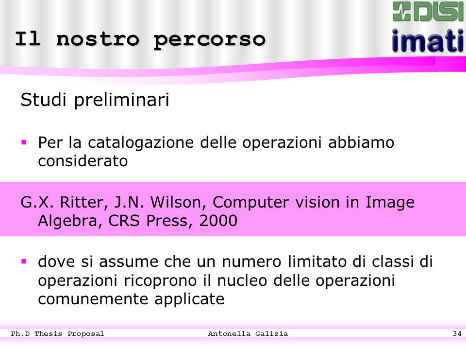 Ph.D Thesis Proposal Antonella Galizia34 Studi preliminari  Per la catalogazione delle operazioni abbiamo considerato G.X.