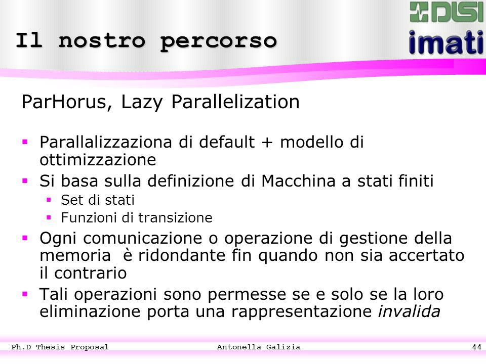 Ph.D Thesis Proposal Antonella Galizia44 ParHorus, Lazy Parallelization  Parallalizzaziona di default + modello di ottimizzazione  Si basa sulla definizione di Macchina a stati finiti  Set di stati  Funzioni di transizione  Ogni comunicazione o operazione di gestione della memoria è ridondante fin quando non sia accertato il contrario  Tali operazioni sono permesse se e solo se la loro eliminazione porta una rappresentazione invalida Il nostro percorso
