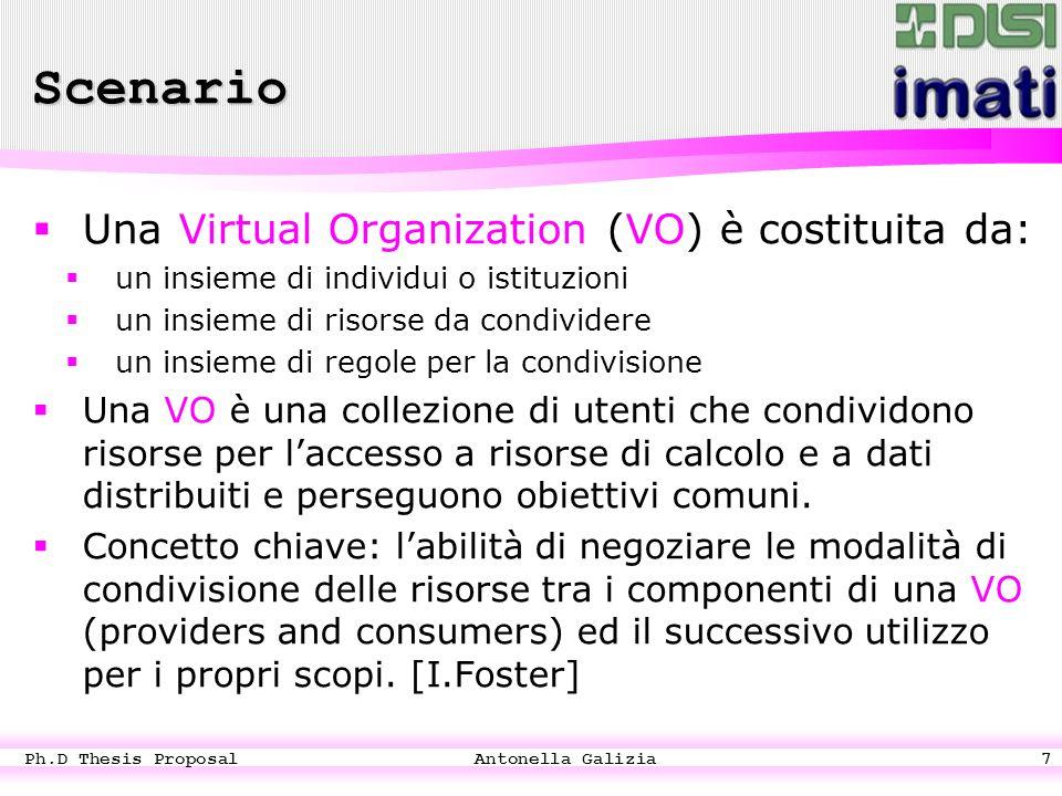 Ph.D Thesis Proposal Antonella Galizia7  Una Virtual Organization (VO) è costituita da:  un insieme di individui o istituzioni  un insieme di risorse da condividere  un insieme di regole per la condivisione  Una VO è una collezione di utenti che condividono risorse per l'accesso a risorse di calcolo e a dati distribuiti e perseguono obiettivi comuni.