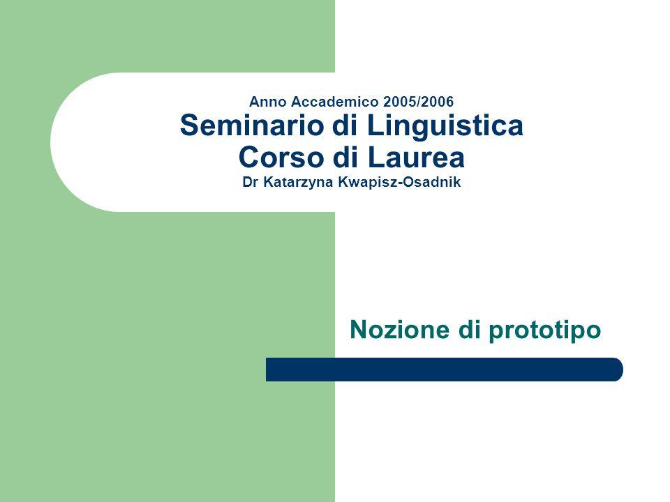 Anno Accademico 2005/2006 Seminario di Linguistica Corso di Laurea Dr Katarzyna Kwapisz-Osadnik Nozione di prototipo
