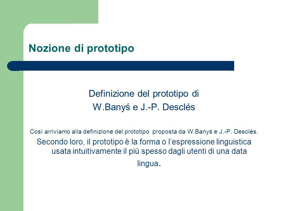 Nozione di prototipo Definizione del prototipo di W.Banyś e J.-P. Desclés Così arriviamo alla definizione del prototipo proposta da W.Banyś e J.-P. De