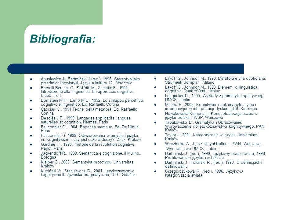 Bibliografia: Anusiewicz J., Bartmiński J.(red.), 1998, Stereotyp jako przedmiot lingwistyki, Język a kultura 12, Wrocław Berselli Bersani G., Soffritti M., Zanettin F., 1999, Introduzione alla linguistica.
