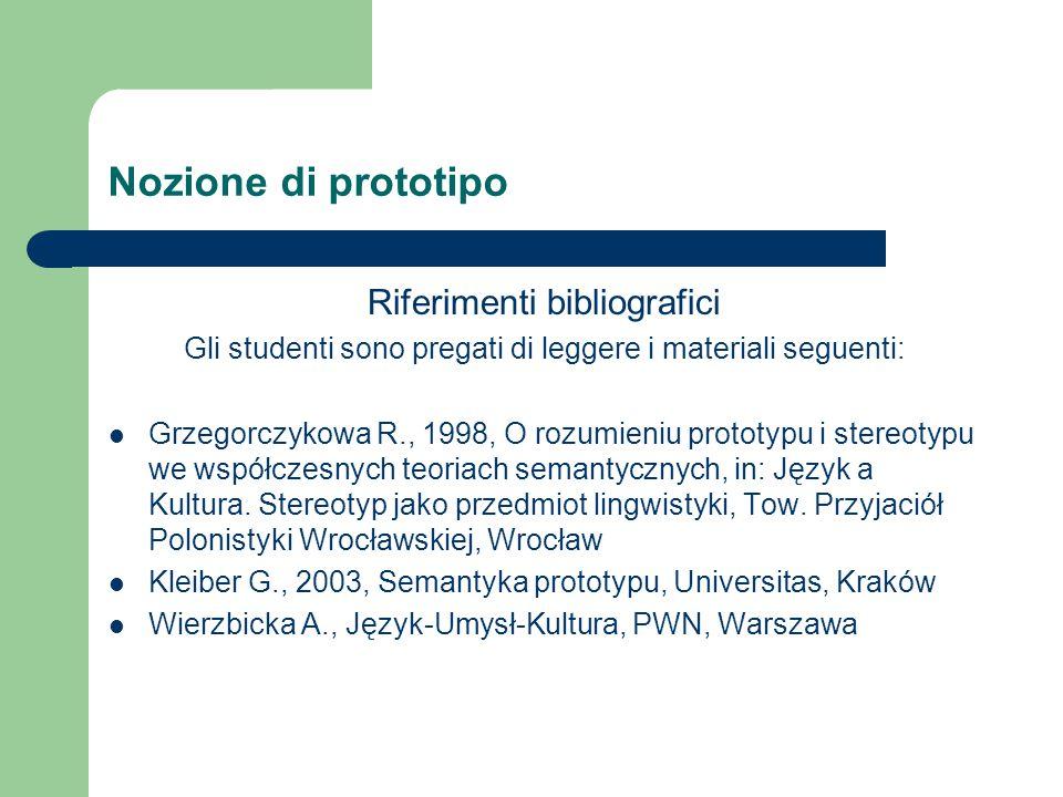Nozione di prototipo Riferimenti bibliografici Gli studenti sono pregati di leggere i materiali seguenti: Grzegorczykowa R., 1998, O rozumieniu prototypu i stereotypu we współczesnych teoriach semantycznych, in: Język a Kultura.